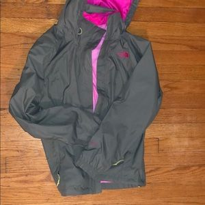North Face olive rain jacket